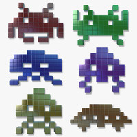 arcade space invaders 3d model