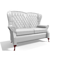 classic 2 seater leather chair 3d model