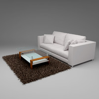 3d Couch with Carpet and table