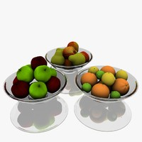 3d 3ds realistic fruit bowl set