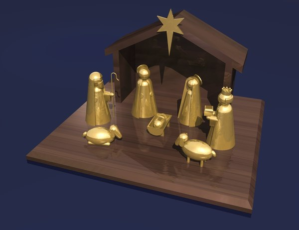 nativity scene 3d model - nativity scene... by teqqen