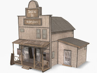 Western Funeral Home, Low Poly, Textured
