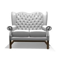 georgian 2 seater leather chair 3d 3ds