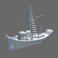 3d model boat wood wooden