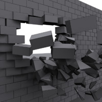 3d model wall destroyed bricks