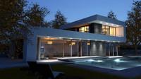 3d loft pool scene model