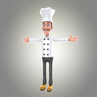 cartoon man chef 3d obj