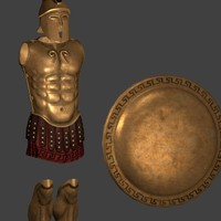 greek hoplite armor shield obj