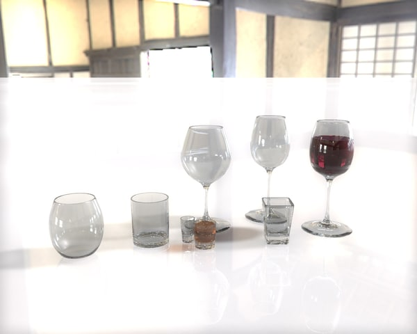 wines glasses obj - Bar ware collection... by Jushara