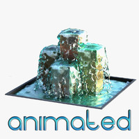 3d fountain animation model