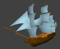 free historic ship 3d model