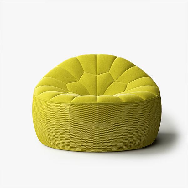 ottoman ligne roset 3d model. Black Bedroom Furniture Sets. Home Design Ideas