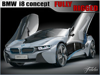 bmw i8 concept rigged car 3d max
