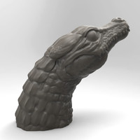 3d crocodile head sculpture model