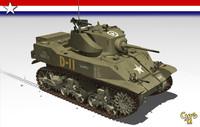 3d model stuart tank m5a1 wwii