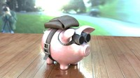 piggy bank parachute 3d model