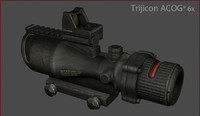 trijicon acog 6x 3d model