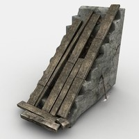 3d damage stone stairs model