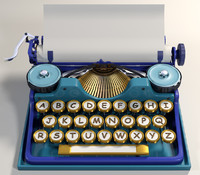 cartoon typewriter 3d max