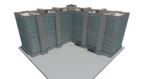 3D Downtown Apartment Building - 8 Floors