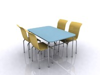 interior chair table dinner 3d max