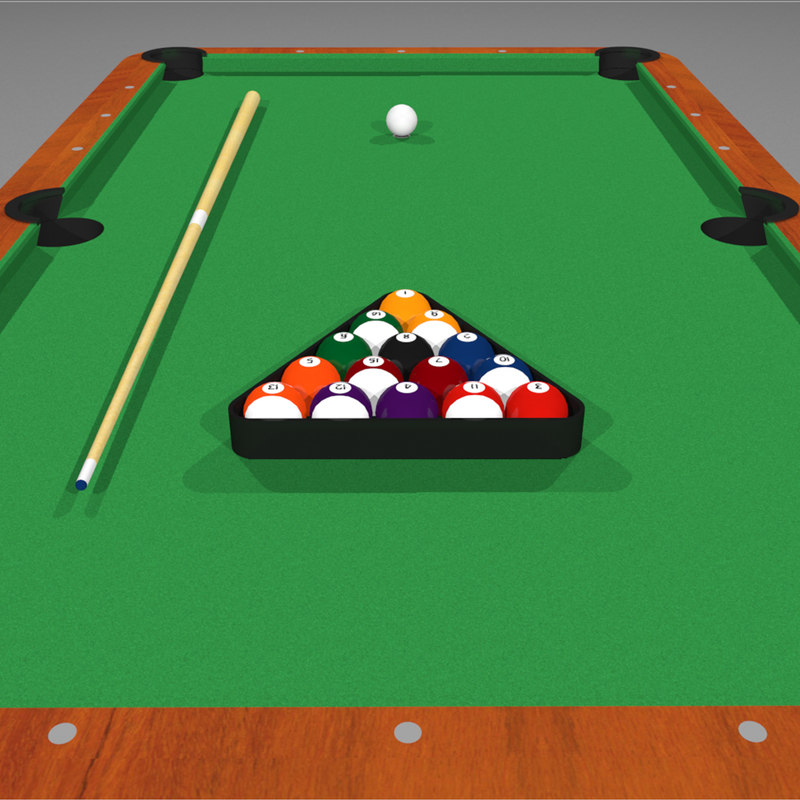 3d c4d pool billiards - Pool table green felt ...