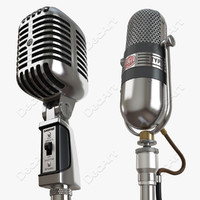 3d model retro microphones