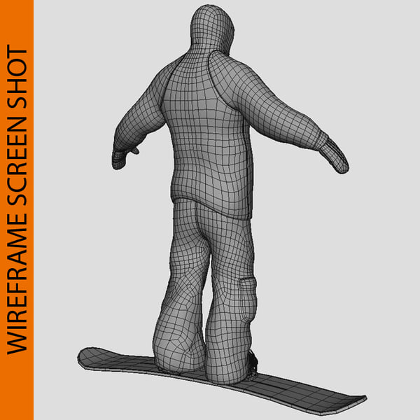 3d snow boarder boots board model - Snow Boarder With Boot & Board... by vertex_monkey