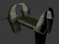 3d obj stone bridge fantasy