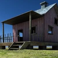 3d model wood house
