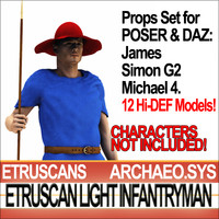 Props Set Poser Daz for Etruscan Light Infantryman