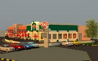 fast food restaurant building 3d c4d