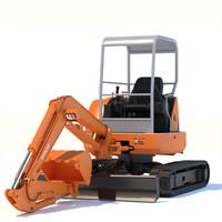 3dsmax mini excavator hitachi ex50u