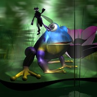 cartoon scene frogs mosquito 3ds