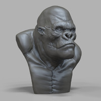 king kong bust sculpture obj free