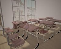 3d x school desk