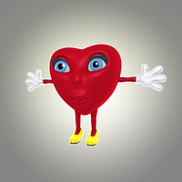 cool cartoon heart obj