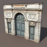 ornate door modelled 3d blend