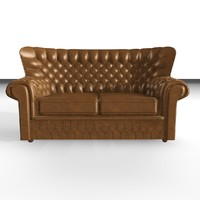 devon 2 seater leather chair 3d 3ds