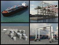 cargo ship port crane 3d max