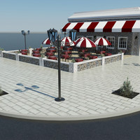 outdoor cafe 3d model