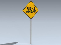 3d model road sign risks ahead