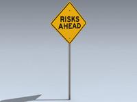 3d model road sign risks ahead