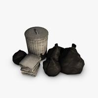 trash bin pile bags 3d max