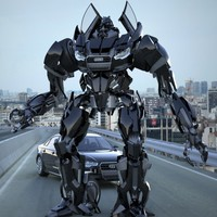 Audi A6 2012 Transformer Black / Autobot - Rigged