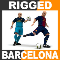 Rigged Football Player and Goalkeeper - FC Barcelona