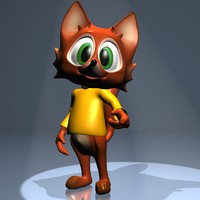 3d model fox character rigged