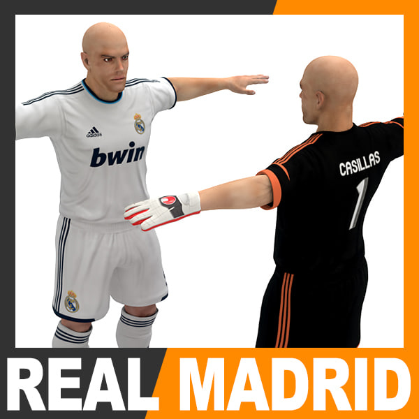 football player - real 3d model - Football Player and Goalkeeper - Real Madrid CF... by cgshape