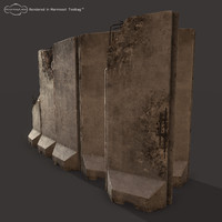 3ds max concrete barriers military walls