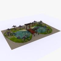 3d medieval japan pool model